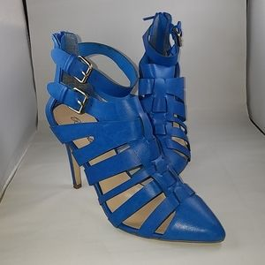 Beautiful blue high heel boots